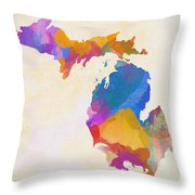 Colorful Michigan Throw Pillow