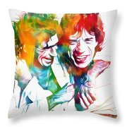 Colorful Mick And Keith Throw Pillow