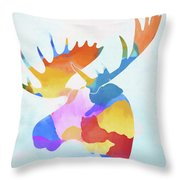 Colorful Moose Head Throw Pillow