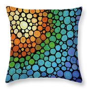 Colorful Mosaic Art - Blissful Throw Pillow