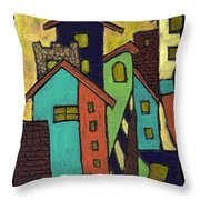 Colorful Neighborhood Throw Pillow