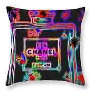 Colorful Neon Chanel Five  Throw Pillow