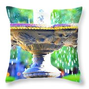 Colorful New Orleans Fountain Throw Pillow