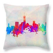 Colorful New York Skyline Throw Pillow