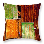 Colorful Old Barn Wood Throw Pillow