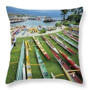 Colorful Outrigger Canoes Throw Pillow