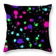 Colorful Paint Splatters Throw Pillow