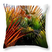 Colorful Palm Leaves Throw Pillow