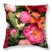 Colorful Paper Flower Blossoms  Throw Pillow