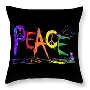 Colorful Peace Cat Throw Pillow