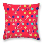 Colorful Pepermint Candy Canes Throw Pillow