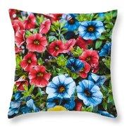 Colorful Petunias 2 Throw Pillow