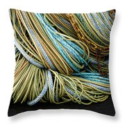 Colorful Pile Of Fishing Nets And Ropes Throw Pillow