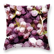 Colorful Pink Tasty Grapes In The Basket Throw Pillow