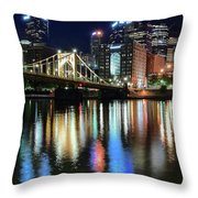 Colorful Pittsburgh Lights Throw Pillow