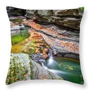 Colorful Pool In The Gorge Of Watkins Glen Throw Pillow