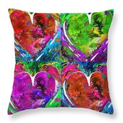 Colorful Pop Hearts Love Art By Sharon Cummings Throw Pillow