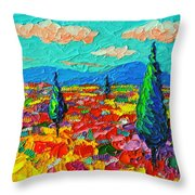 Colorful Poppies Field Abstract Landscape Impressionist Palette Knife Painting By Ana Maria Edulescu Throw Pillow