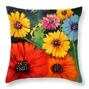 Colorful Poppy Warm No.1 Throw Pillow