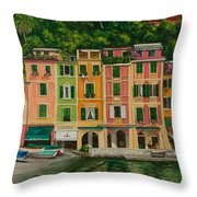 Colorful Portofino Throw Pillow by Charlotte Blanchard