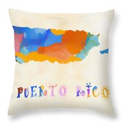 Colorful Puerto Rico Map Throw Pillow