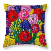 Colorful Ranunculus Flowers In Polka Dots Vase Palette Knife Oil Painting By Ana Maria Edulescu Throw Pillow