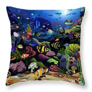 Colorful Reef Throw Pillow