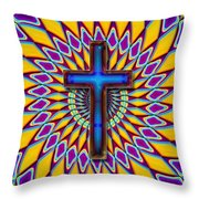 Colorful Retro Cross Throw Pillow