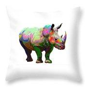 Colorful Rihno Throw Pillow