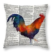 Colorful Rooster On Vintage Dictionary Throw Pillow