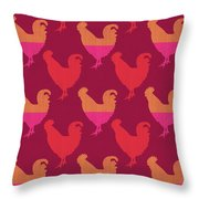 Colorful Roosters- Art By Linda Woods Throw Pillow