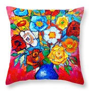 Colorful Roses And Camellias - Abstract Bouquet Of Flowers Throw Pillow