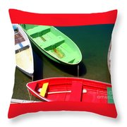 Colorful Rowboats Throw Pillow