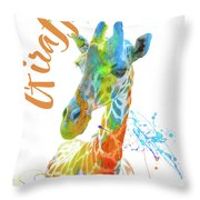 Colorful Safari Animals D Throw Pillow