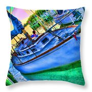 Colorful Sailboat Throw Pillow