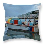Colorful Saint Martin Power Boat Caribbean Throw Pillow