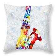 Colorful Saxophone Throw Pillow