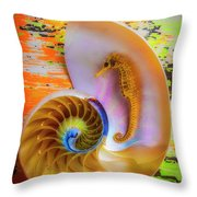 Colorful Seahorse And Nautilus Shell Throw Pillow