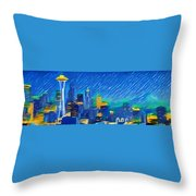 Colorful Seattle Skyline Panorama Throw Pillow