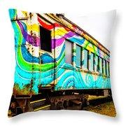 Colorful Skunk Train Passenger Car Throw Pillow