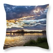 Colorful Snake River Throw Pillow