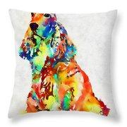Colorful Spaniel Throw Pillow