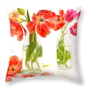 Colorful Spring Tulips In Old Milk Bottles Throw Pillow