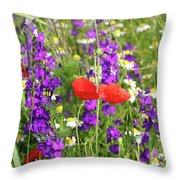 Colorful Spring Wild Flowers Throw Pillow
