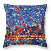Colorful St Louis Skyline Throw Pillow