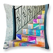 Colorful Stairs Throw Pillow