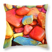Colorful Stones Throw Pillow