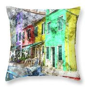 Colorful Street In Burano Near Venice Italy Throw Pillow
