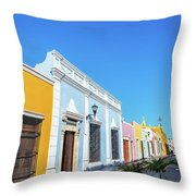 Colorful Street In Campeche, Mexico Throw Pillow