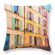 Colorful Street In Paris Throw Pillow